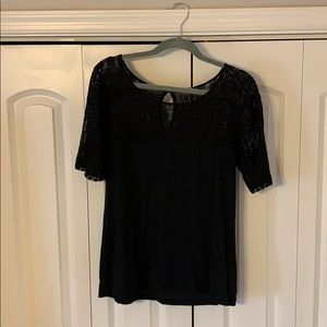 JCrew Black lace keyhole top